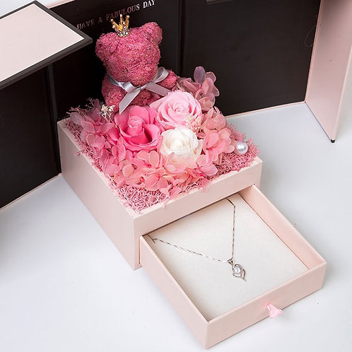 2020 Valentine's Day Gift Teddy Bear Rose Two Door Gift Box  mother's  Gift.
