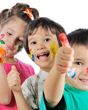 messy-children-with-paint-on-their-hands