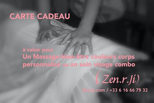 Carte Cadeau Massage-Bien-Etre Couleur ou Soin Visage Combo - 75 euros