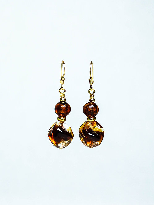 Lampwork and Vintage German Drop Earring
