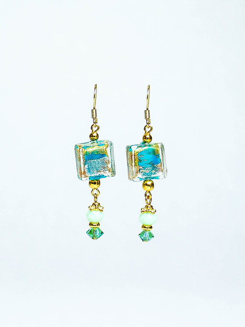 Glass and Lampwork Drop Earring