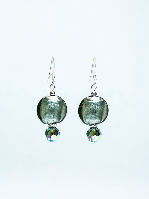 Lampwork and Swarovski Crystal Drop Earrings