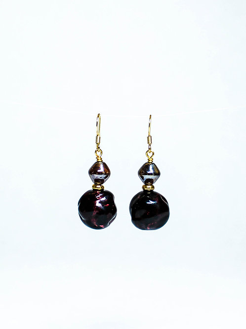 Vintage German and Lampwork Drop Earring