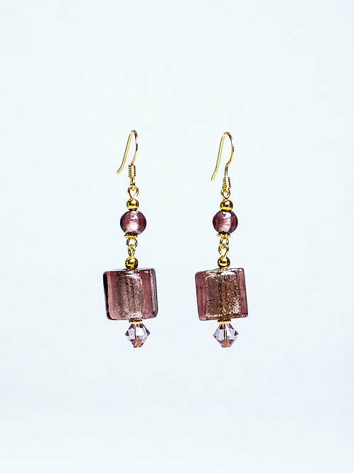 Lampwork and Swarovski Crystal Drop Earring