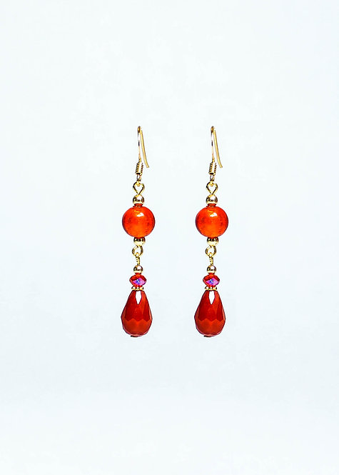 Lampwork and Glass Drop Earring
