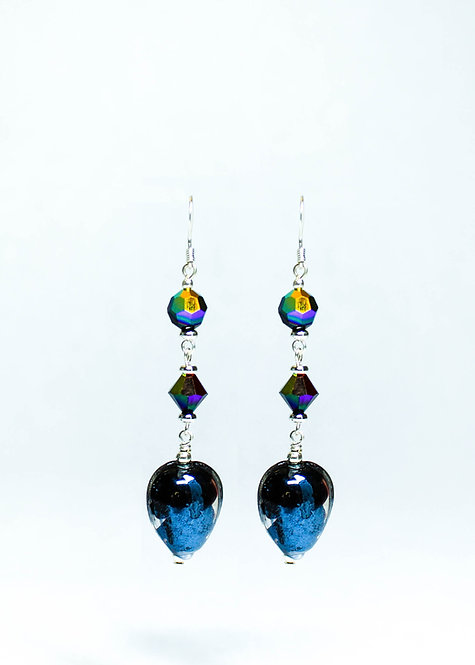 Swarovski Crystal and Lampwork Drop Earrings