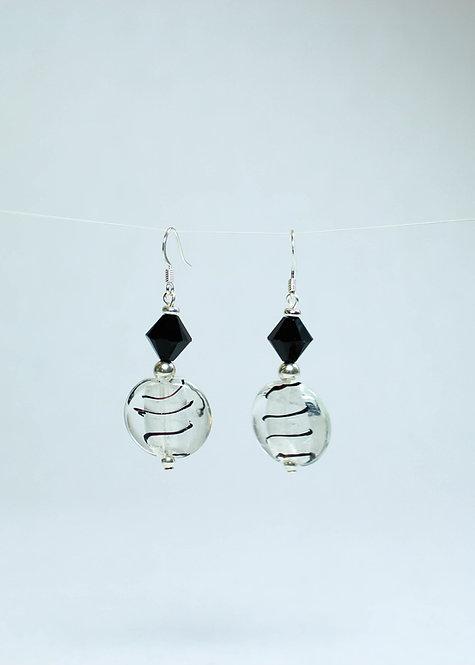Lampwork and Swarovski Crystal Drop Earrings