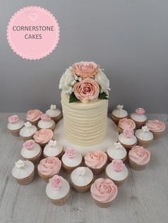Tall Rustic Wedding Cake with coordinating  cupcakes