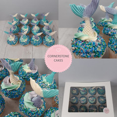 Mermaid Cupcakes - Teal/Mauve