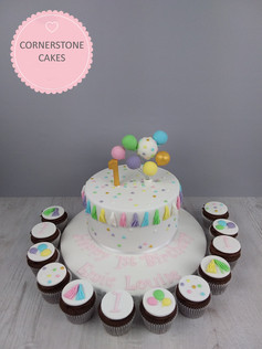 Confetti & Balloon Cake & Cupcakes