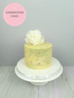 Rose & Gold Leaf Cake - Summer Colours