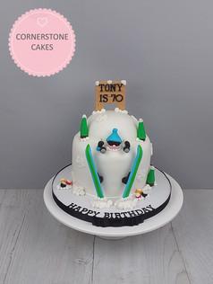Sunmerged Skier Cake