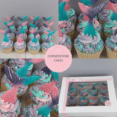Mermaid Cupcakes - Pink/Mauve/Teal