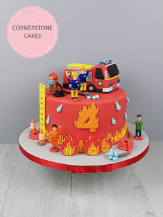 Fireman Cake with Fire truck & Figures