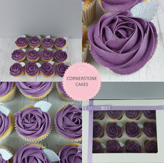 Rose Cupcakes with Silver Leaf
