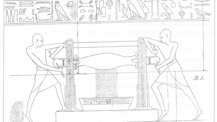Marguerite Naville, pressoir pour les graisses d'éclairage extrait de Détails relevés dans les ruines de quelques temples égyptiens, Paris 1930
