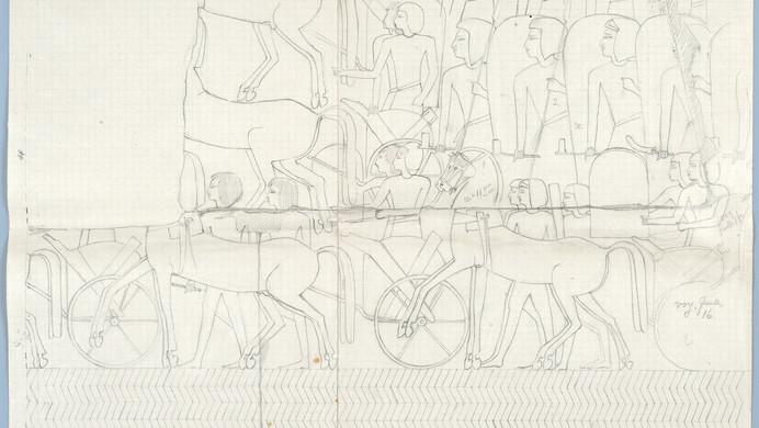 Marguerite Naville : Abydos, temple de Ramsès II, bataille de Kadesh (dessin préparatoire aux Détails relevés dans les ruines de quelques temples égyptiens) © Musée d'art et d'histoire de la Ville de Genève, inv. A 2006-0030-007-3c