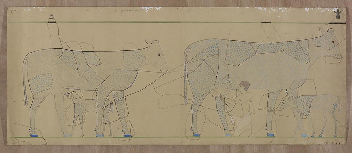 Marguerite Naville, Dessins préparatoires pour l'édition du sarcophage de la princesse Kemsit (vaches bleues et vaches rouges). © Musée d'art et d'histoire de la Ville de Genève, A 2006-0030-009-4