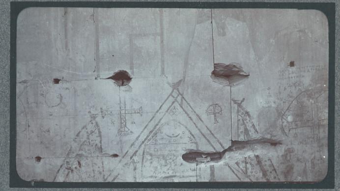 Marguerite Naville: Abydos, temple de SéthiIer, chambre à 4 colonnes, mur sud détail (= peintures coptes, tirage photographique) © Musée d'art et d'histoire de la Ville de Genève, inv. A 2006-0030-026-01b