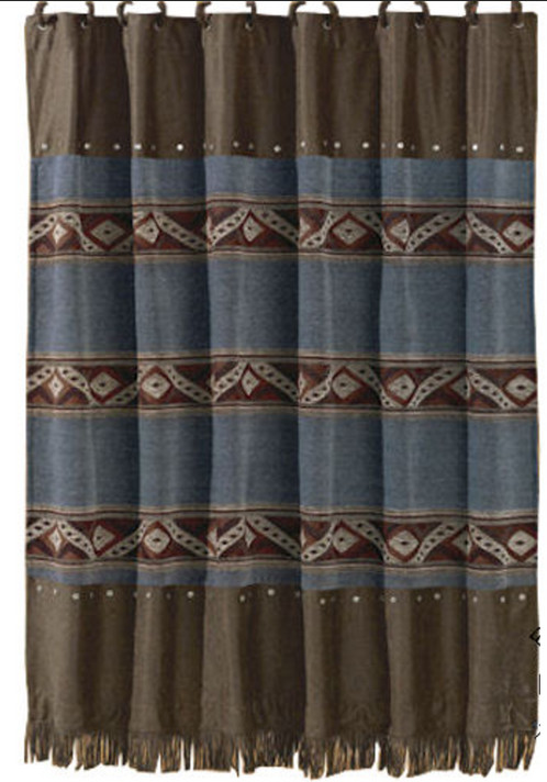 Blue Jean Fringed Shower Curtain