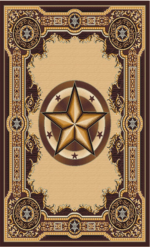 Western Area Rug With Texas Star By Persian Weavers