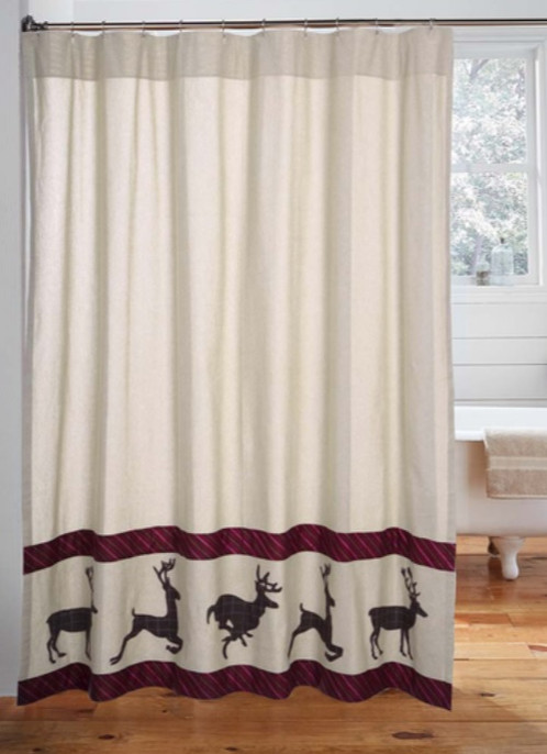 Easy To Add A Rustic Look In Your Bath With The Wyatt Deer Shower Curtain.  The Body Is A Textured Khaki Chambray And Along The Bottom Are Appliqued  Espresso ...