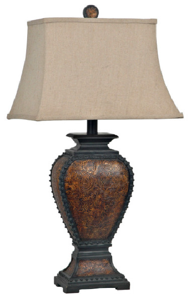 Tooled leather western table lamp western home decor western tooled leather table lamp aloadofball Gallery