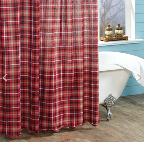Braxton Red and Tan Plaid Country Shower Curtain | Western Home ...