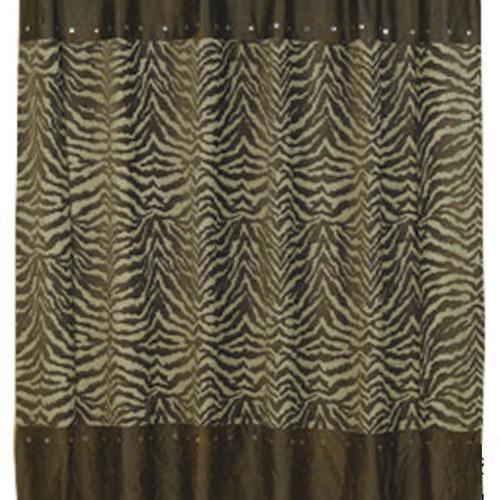 Turquoise Zebra Western Shower Curtain