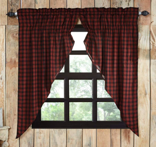 Country Prairie Curtain In Red Plaid