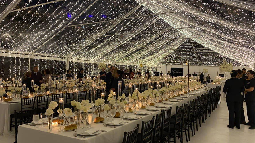 Mandarin Oriental Tent with string lights