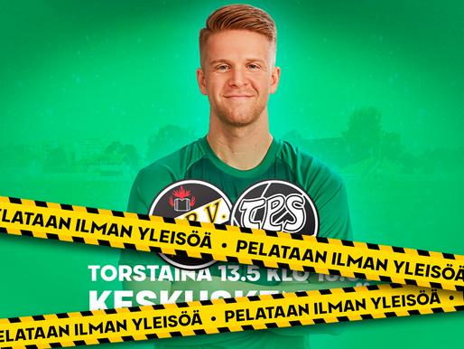KPV – TPS-ottelu pelataan tyhjille katsomoille!