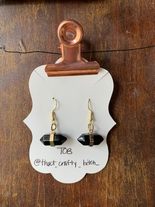 That Crafty B - Obsidian Stone Dangling Earrings with Gold Accent