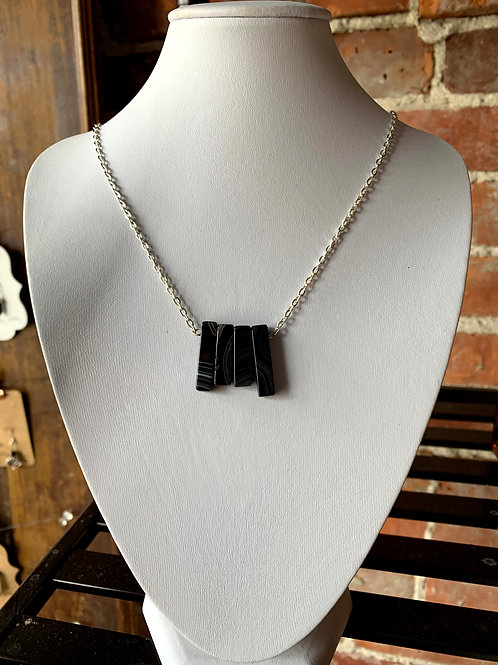That Crafty B - Black Agate Bar Necklace with Silver Accents