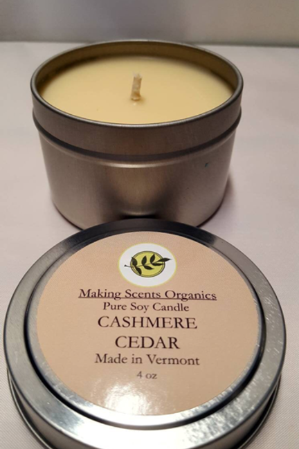 Making Scents Organics Pure Soy Candles - Cashmere Cedar