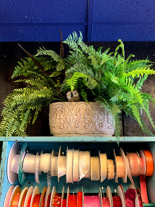 Cement Planter with Faux Ferns