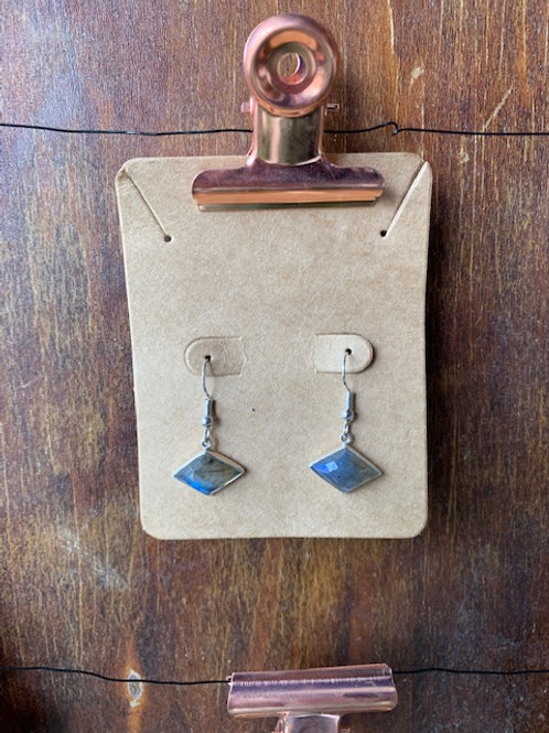 That Crafty B - Labradorite Diamonds Earrings with Silver Accents.