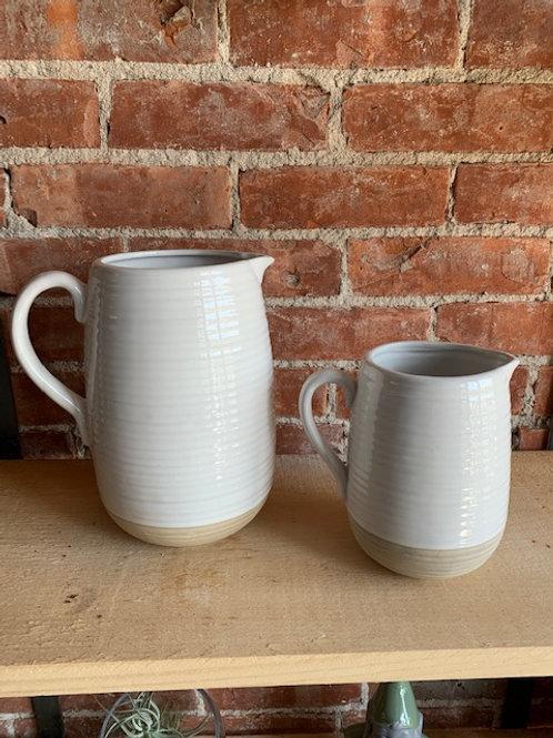 Ceramic White Pitcher/Vase - Large