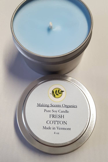 Making Scents Organics Pure Soy Candles - Fresh Cotton