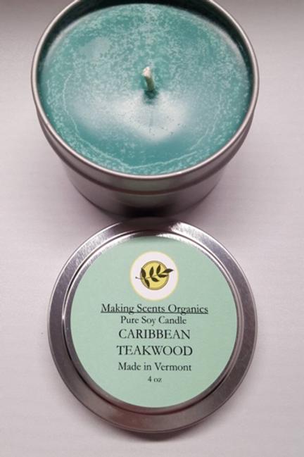 Making Scents Organics Pure Soy Candles - Caribbean Teakwood