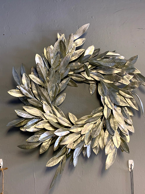 Large Faux Silver Leaf Wreath