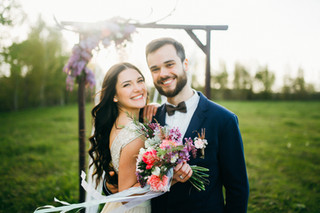 Happy bride and groom after wedding cere