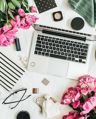 Flat lay styled fashion feminine office