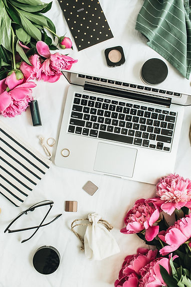 Flat lay styled fashion feminine office