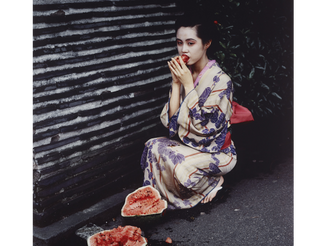 #Geisha #Girl with #Watermelon, #1992, #NobuyoshAraki on the #street #kimono
