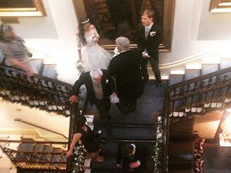 #Fairytale #Wedding #bride&groom #comingsandgoings #staircase #carltonclub
