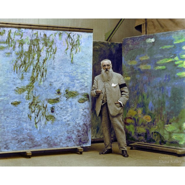 Instagram - #ClaudeMonet in #1923  #Colourized #Photos #waterlillies #blue #gree