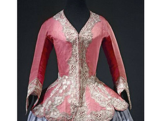 "#France, #Bodice ""à basques"" (#casaquin), worn after #hunting, gros de Tours taffeta, gilt #silver t"
