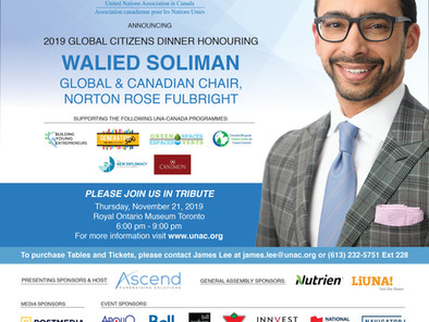 UNA-Canada announces Walied Soliman, as its 2019 Global Citizen Laureate