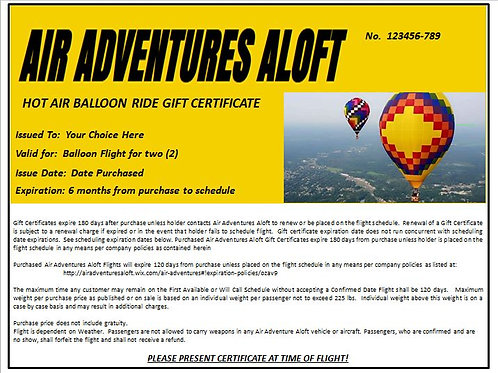 Hot Air Balloon Gift Certificate
